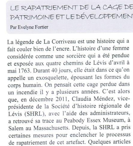 Cage Corriveau_Par E Fortier_Seigneurie de L no 128 printemps 2013 - Version 2