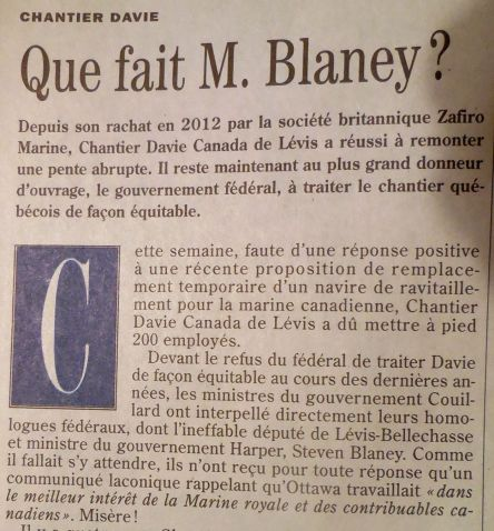 Que fait M. Blaney_Chantier Davie 16-05-2015 1b