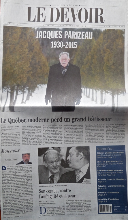 Jacques Parizeau 1930-2015_Le Devoir 03-06-2015