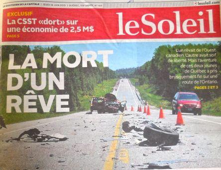 Un accident 2 articles Le Soleil 17 et 18 juin 2015Le Soleil