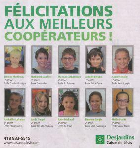 Desjardins, caisse scolaire et cooperateurs Journal de Levis 2013-11-20