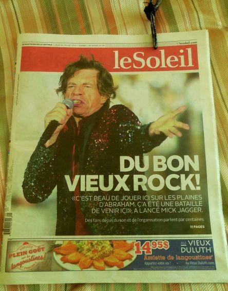 Une du Soleil Jagger le 16-0-2015