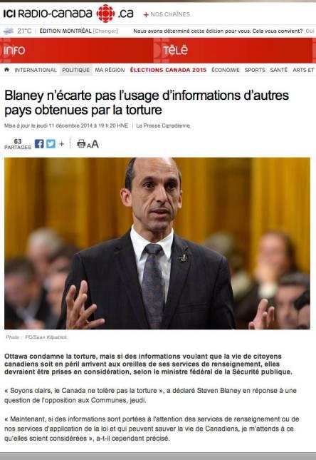 Blaney Torture Parti conservateur D