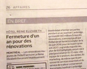 Montreal Fermeture 1 an hotel Reine-Elizabeth