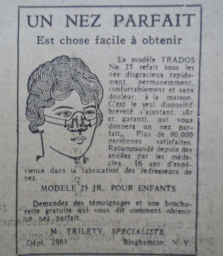 Nez parfait Pub in Revue pop juill 1927