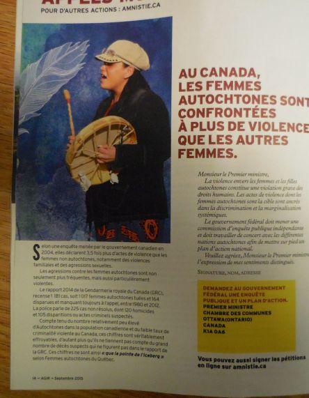 violence faite aux femmes autochtones Canada 2015_a