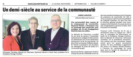 Raymond Martel honoré_Journal des Rivieres sept. 2018